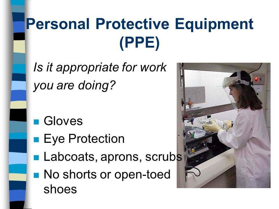 Personal Protective Equipment (PPE) Is it appropriate for work you are doing.