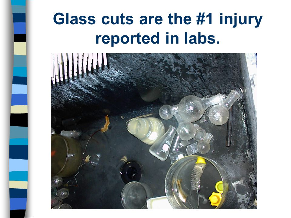 Glass cuts are the #1 injury reported in labs.
