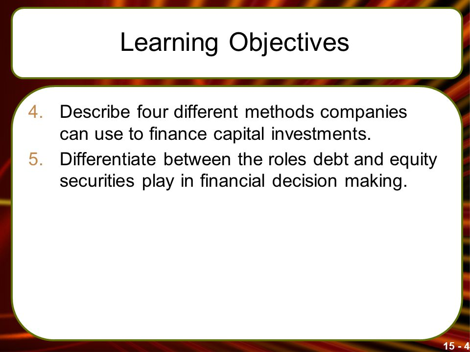 Learning Objectives 4.Describe four different methods companies can use to finance capital investments.
