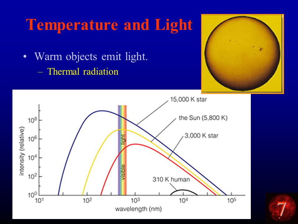 7 Temperature and Light Warm objects emit light. –Thermal radiation