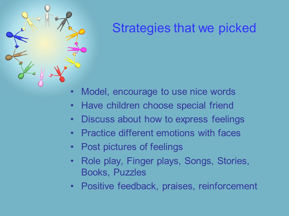 Strategies that we picked Model, encourage to use nice words Have children choose special friend Discuss about how to express feelings Practice different emotions with faces Post pictures of feelings Role play, Finger plays, Songs, Stories, Books, Puzzles Positive feedback, praises, reinforcement