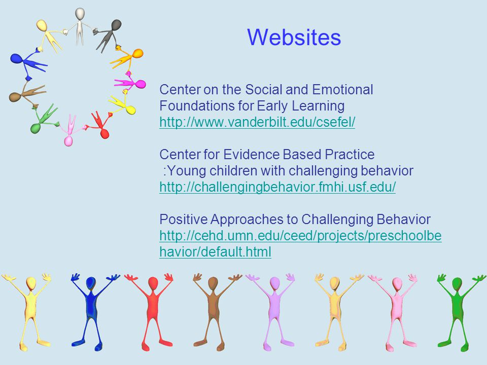 Center on the Social and Emotional Foundations for Early Learning   Center for Evidence Based Practice :Young children with challenging behavior   Positive Approaches to Challenging Behavior   havior/default.html havior/default.html Websites