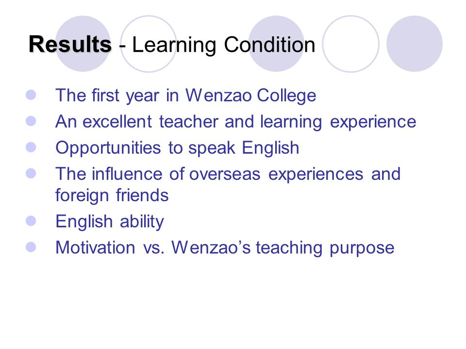 Results Results - Learning Condition The first year in Wenzao College An excellent teacher and learning experience Opportunities to speak English The influence of overseas experiences and foreign friends English ability Motivation vs.