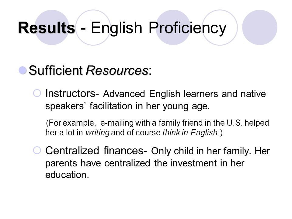 Results Results - English Proficiency Sufficient Resources Sufficient Resources:  Instructors- Advanced English learners and native speakers' facilitation in her young age.
