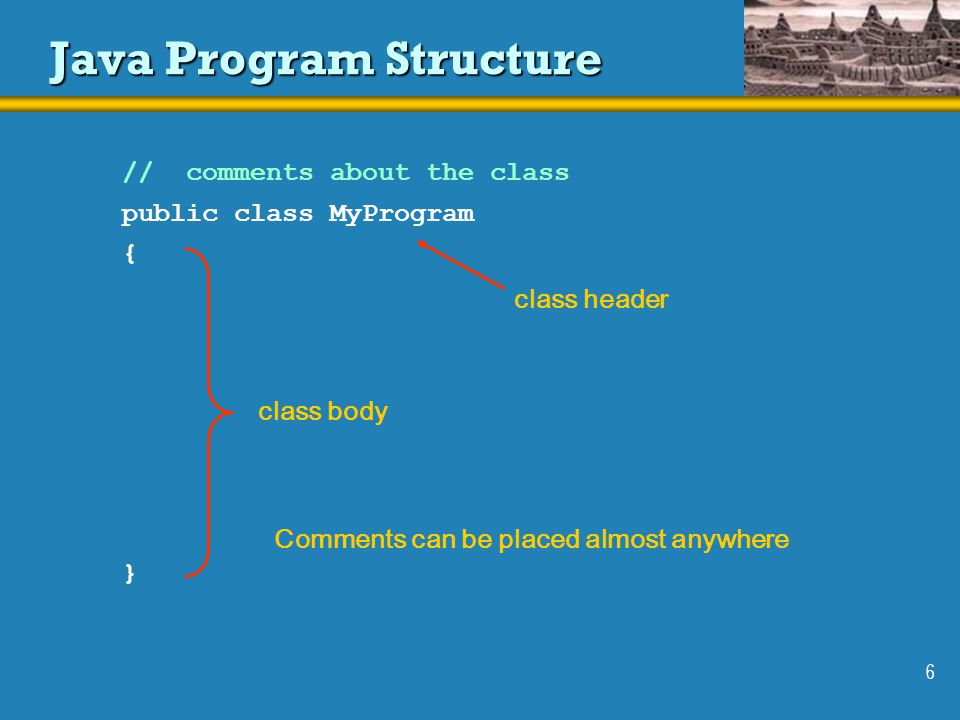 6 Java Program Structure public class MyProgram {}{} // comments about the class class header class body Comments can be placed almost anywhere