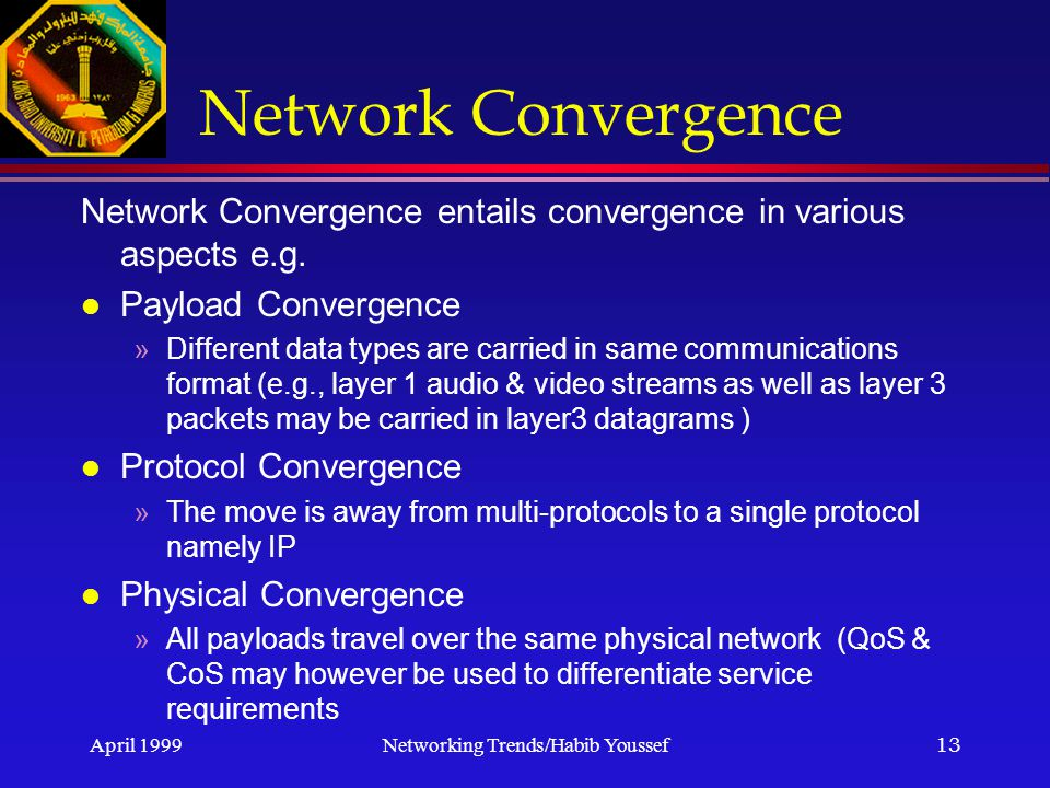 April 1999Networking Trends/Habib Youssef13 Network Convergence Network Convergence entails convergence in various aspects e.g.