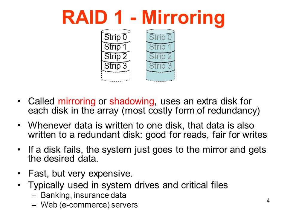 4 RAID 1 - Mirroring Called mirroring or shadowing, uses an extra disk for each disk in the array (most costly form of redundancy) Whenever data is written to one disk, that data is also written to a redundant disk: good for reads, fair for writes If a disk fails, the system just goes to the mirror and gets the desired data.