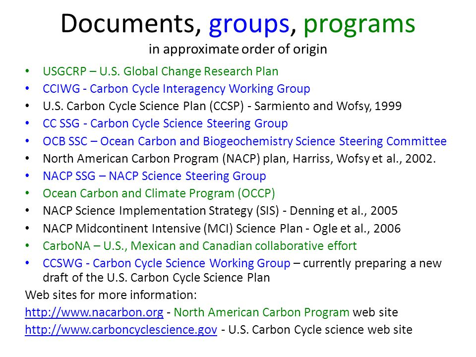 Documents, groups, programs in approximate order of origin USGCRP – U.S.