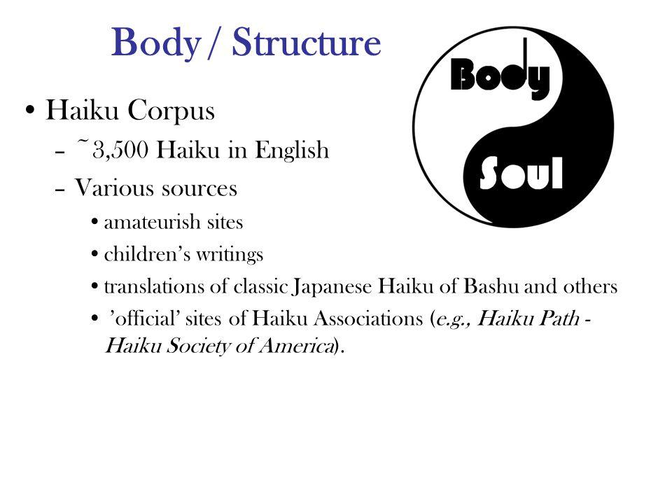 Body / Structure Haiku Corpus –~3,500 Haiku in English –Various sources amateurish sites children's writings translations of classic Japanese Haiku of Bashu and others 'official' sites of Haiku Associations (e.g., Haiku Path - Haiku Society of America).