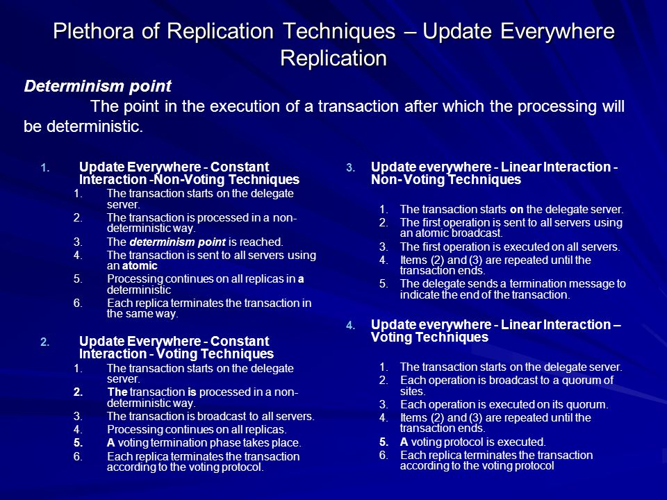 Plethora of Replication Techniques – Update Everywhere Replication 1.