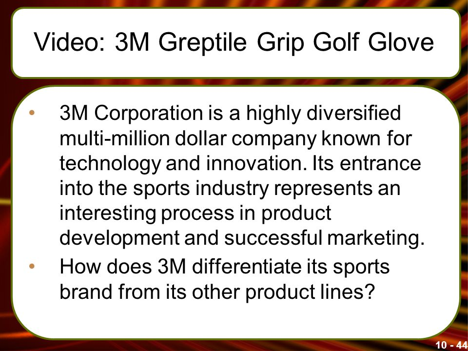 Video: 3M Greptile Grip Golf Glove 3M Corporation is a highly diversified multi-million dollar company known for technology and innovation.