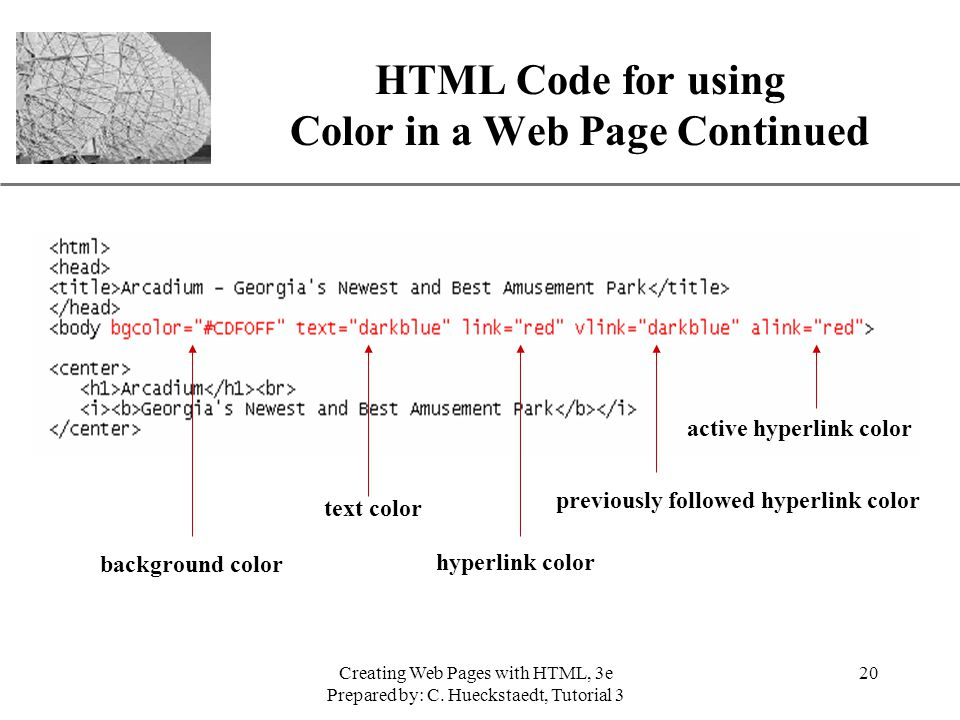 xp creating web pages with html 3e prepared by c - Page Color Html