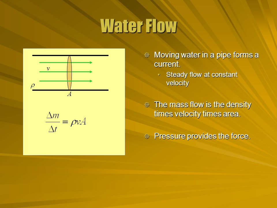 Water Flow  Moving water in a pipe forms a current.