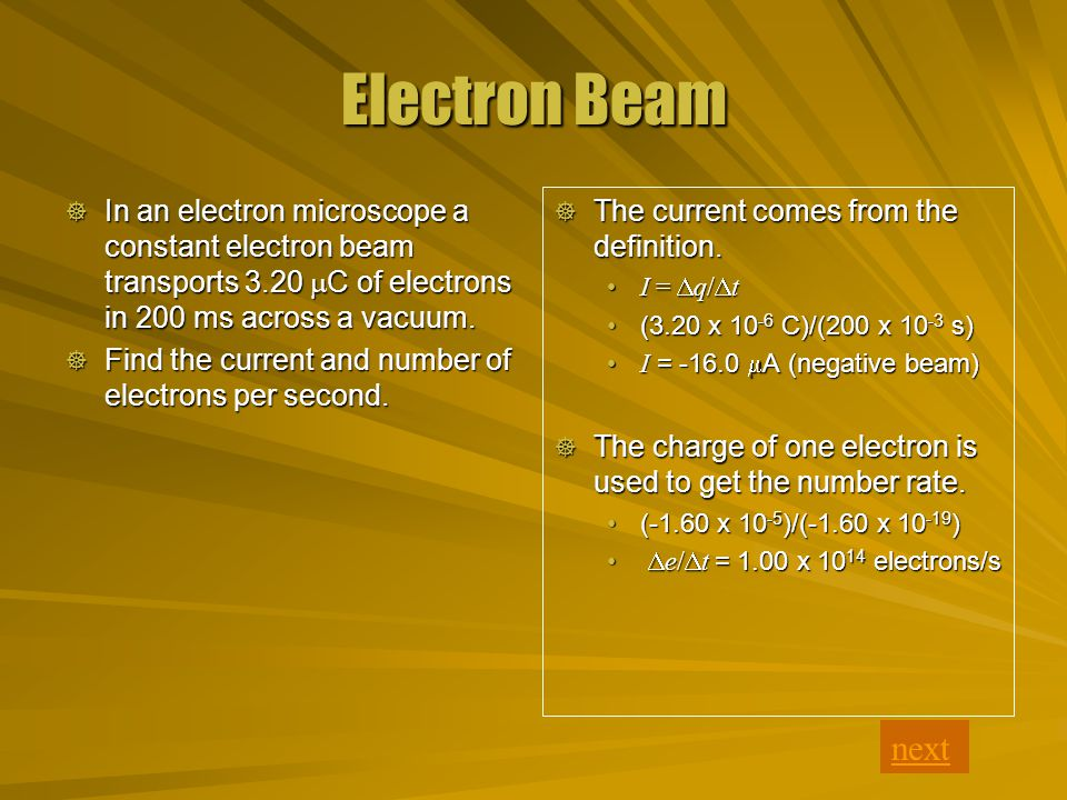 Electron Beam  The current comes from the definition.