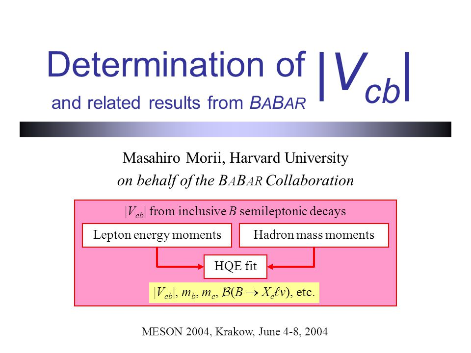 Determination of and related results from B A B AR Masahiro Morii, Harvard University on behalf of the B A B AR Collaboration |V cb | MESON 2004, Krakow, June 4-8, 2004 |V cb | from inclusive B semileptonic decays Lepton energy momentsHadron mass moments HQE fit |V cb |, m b, m c,  (B  X c ℓv), etc.