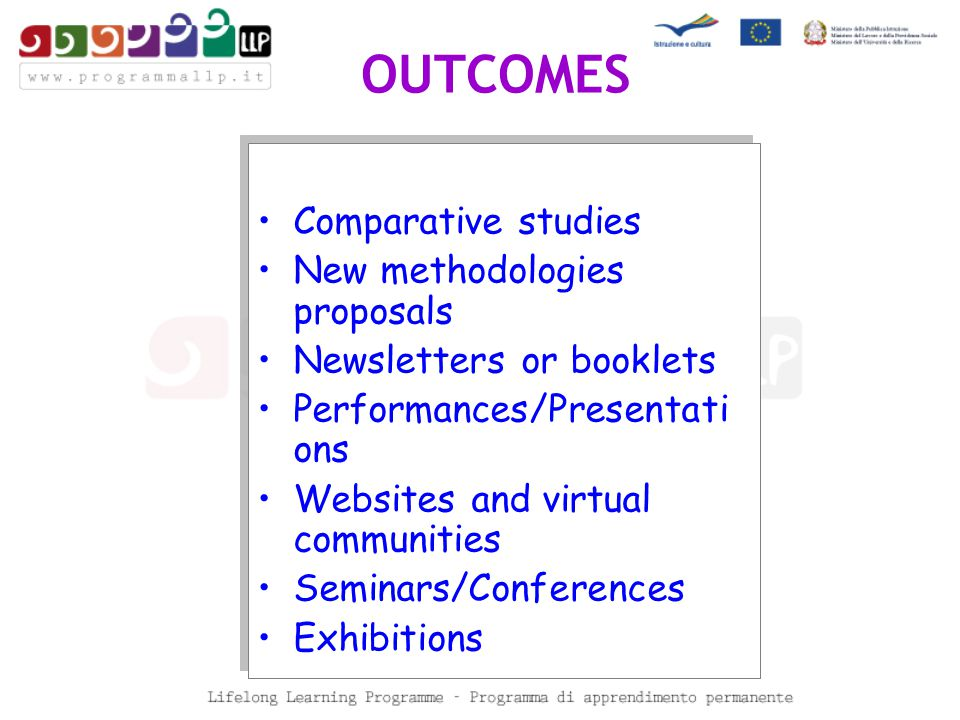 Comparative studies New methodologies proposals Newsletters or booklets Performances/Presentati ons Websites and virtual communities Seminars/Conferences Exhibitions Comparative studies New methodologies proposals Newsletters or booklets Performances/Presentati ons Websites and virtual communities Seminars/Conferences Exhibitions OUTCOMES