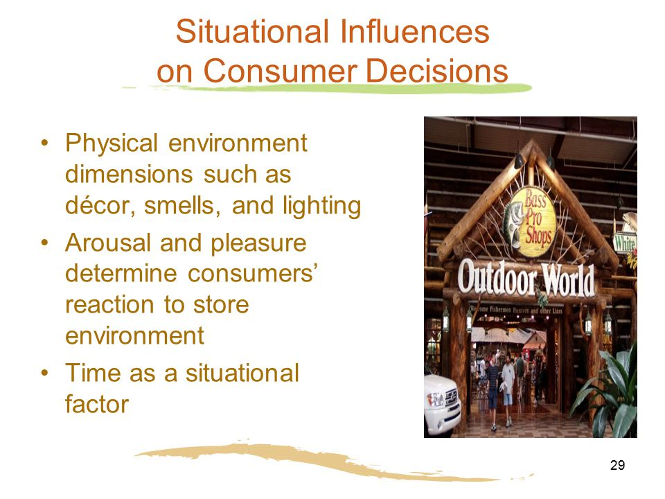 Situational influences the consumers face