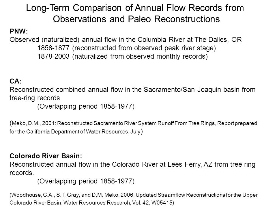 Long-Term Comparison of Annual Flow Records from Observations and Paleo Reconstructions PNW: Observed (naturalized) annual flow in the Columbia River at The Dalles, OR (reconstructed from observed peak river stage) (naturalized from observed monthly records) CA: Reconstructed combined annual flow in the Sacramento/San Joaquin basin from tree-ring records.