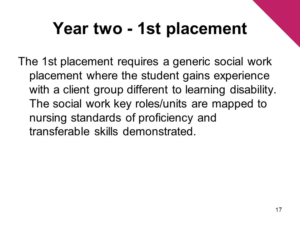 Year two - 1st placement The 1st placement requires a generic social work placement where the student gains experience with a client group different to learning disability.