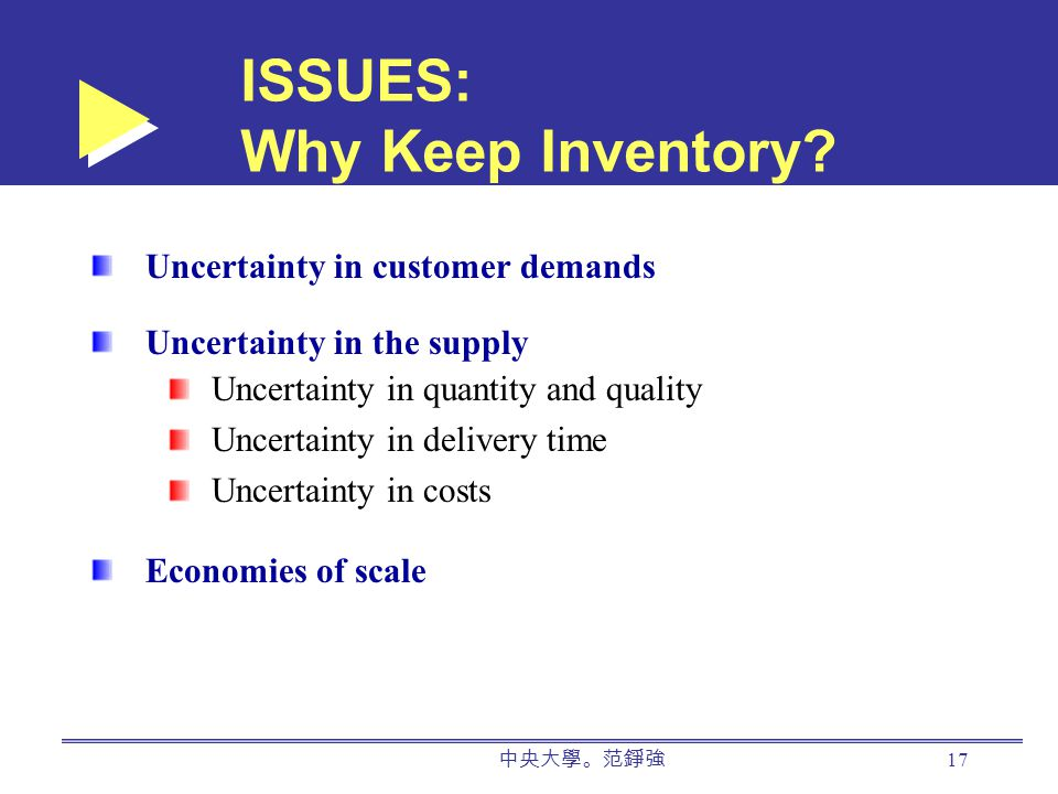 中央大學。范錚強 17 ISSUES: Why Keep Inventory.