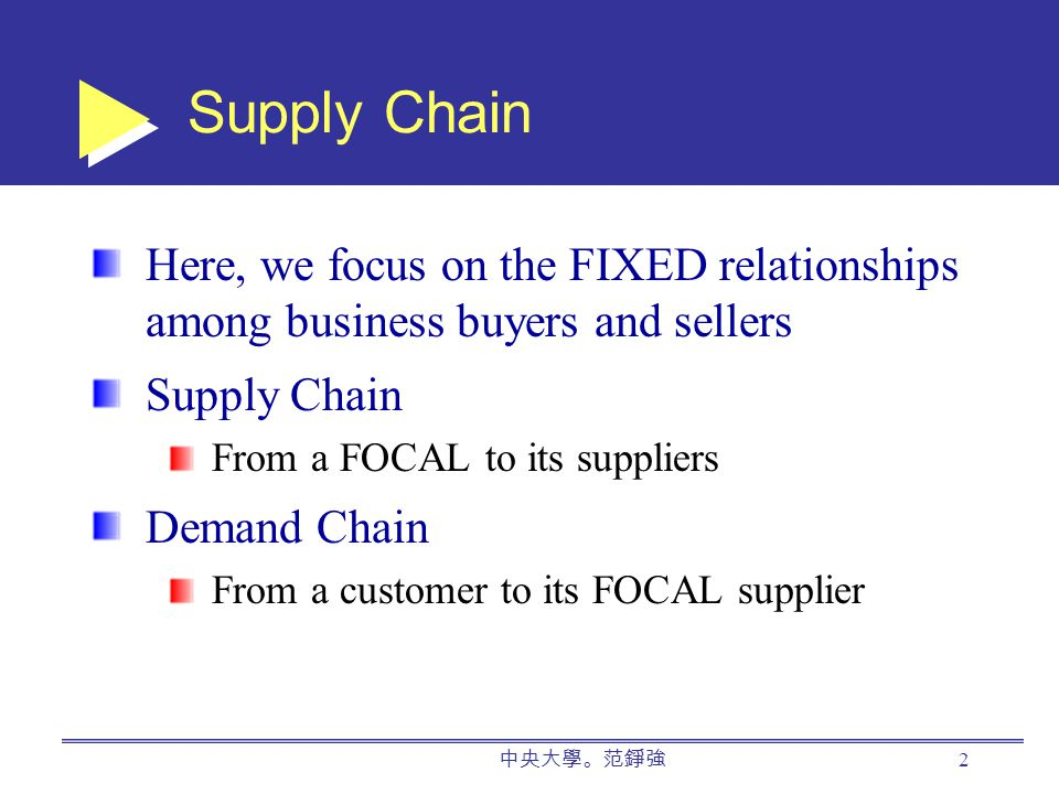 中央大學。范錚強 2 Supply Chain Here, we focus on the FIXED relationships among business buyers and sellers Supply Chain From a FOCAL to its suppliers Demand Chain From a customer to its FOCAL supplier