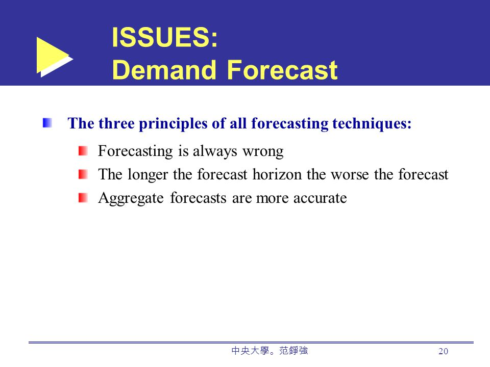 中央大學。范錚強 20 ISSUES: Demand Forecast The three principles of all forecasting techniques: Forecasting is always wrong The longer the forecast horizon the worse the forecast Aggregate forecasts are more accurate