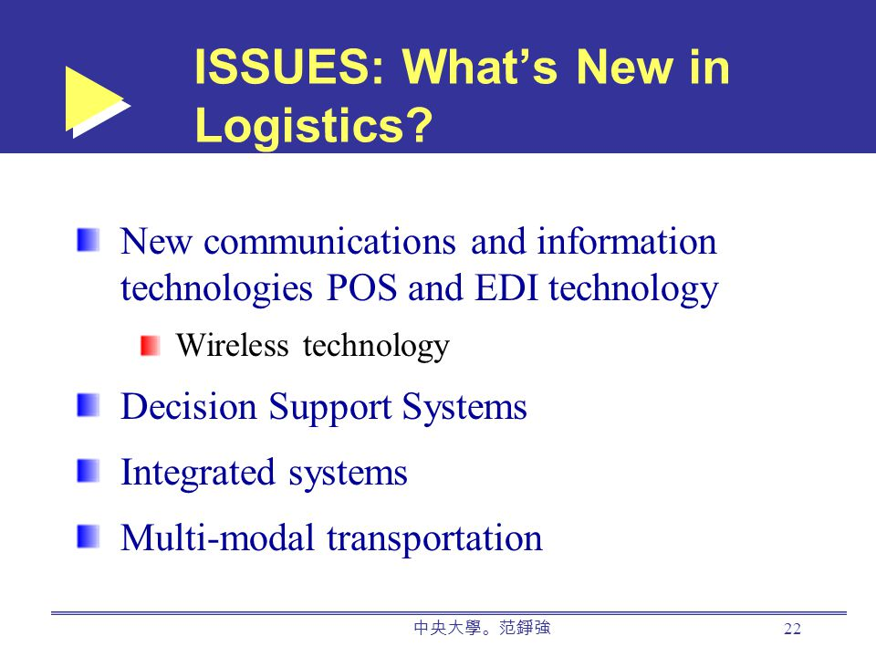 中央大學。范錚強 22 ISSUES: What's New in Logistics.