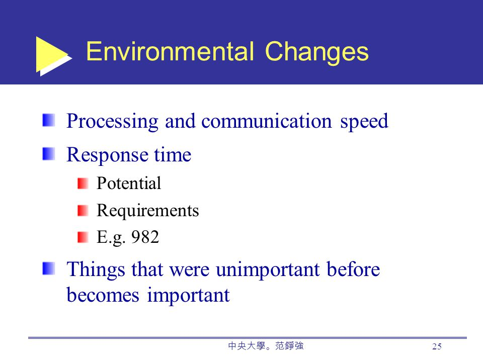 中央大學。范錚強 25 Environmental Changes Processing and communication speed Response time Potential Requirements E.g.