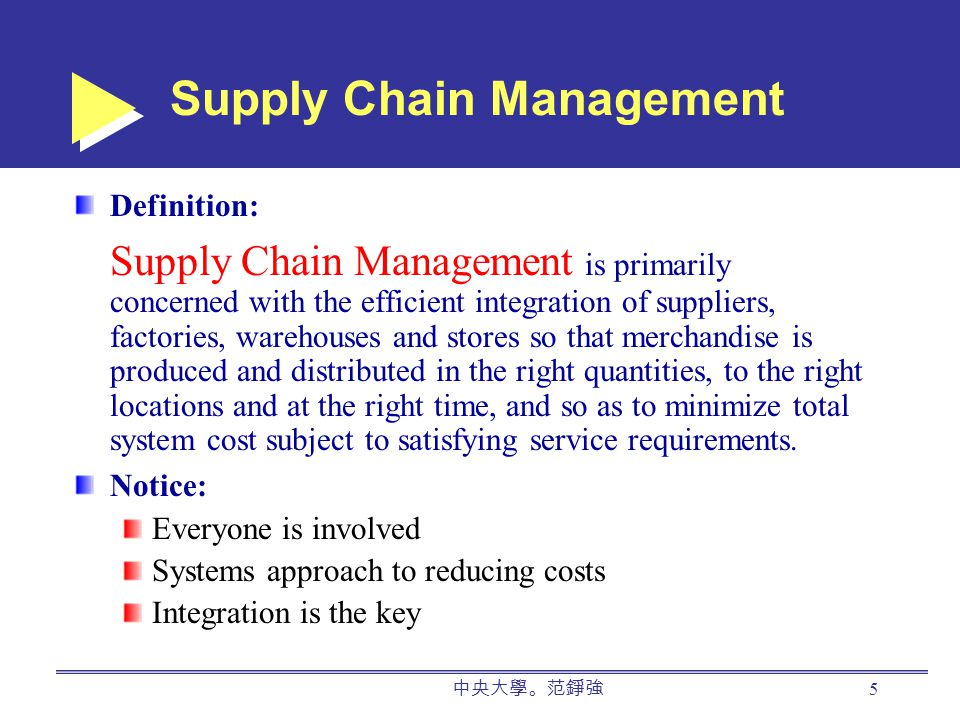 中央大學。范錚強 5 Definition: Supply Chain Management is primarily concerned with the efficient integration of suppliers, factories, warehouses and stores so that merchandise is produced and distributed in the right quantities, to the right locations and at the right time, and so as to minimize total system cost subject to satisfying service requirements.