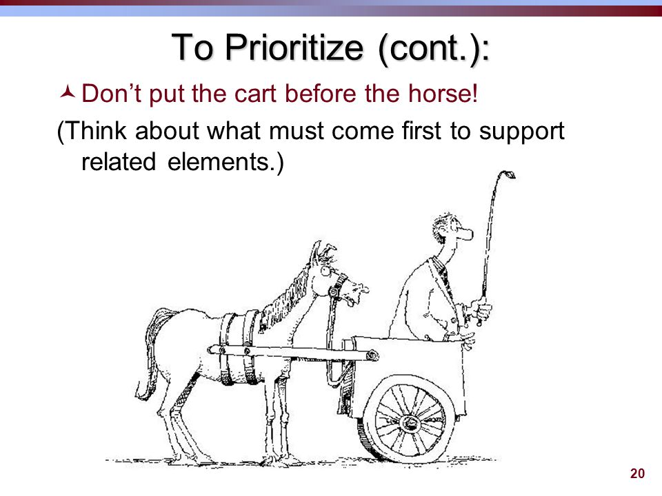 20 To Prioritize (cont.): ©Don't put the cart before the horse.
