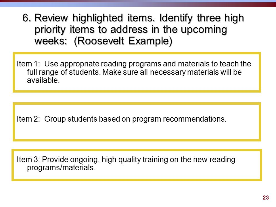 23 6. Review highlighted items.