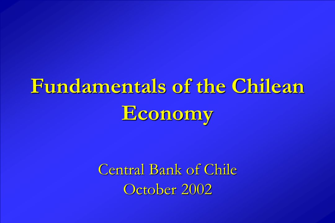 Fundamentals of the Chilean Economy Central Bank of Chile October 2002
