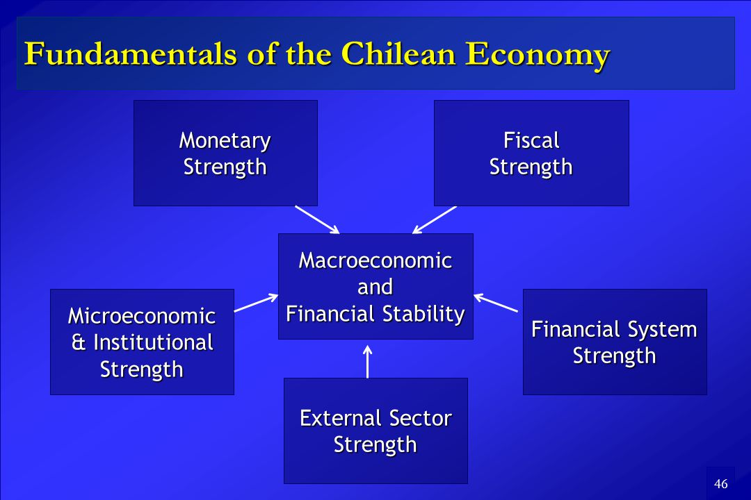 46 Fundamentals of the Chilean Economy Macroeconomic and Financial Stability External Sector Strength Microeconomic & Institutional Strength Financial System Strength Monetary Strength FiscalStrength