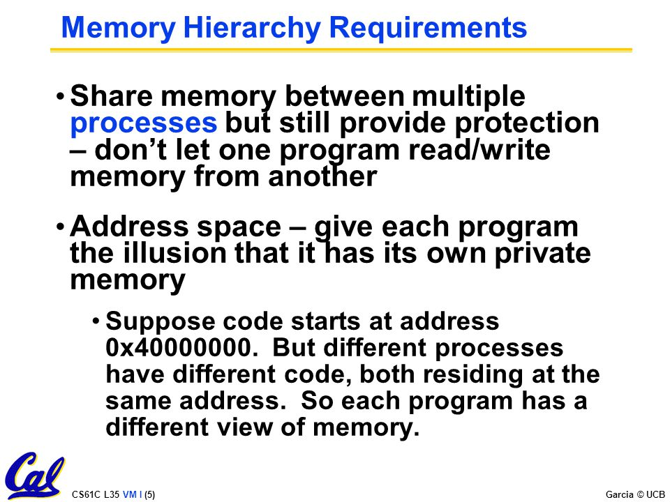 CS61C L35 VM I (5) Garcia © UCB Memory Hierarchy Requirements Share memory between multiple processes but still provide protection – don't let one program read/write memory from another Address space – give each program the illusion that it has its own private memory Suppose code starts at address 0x