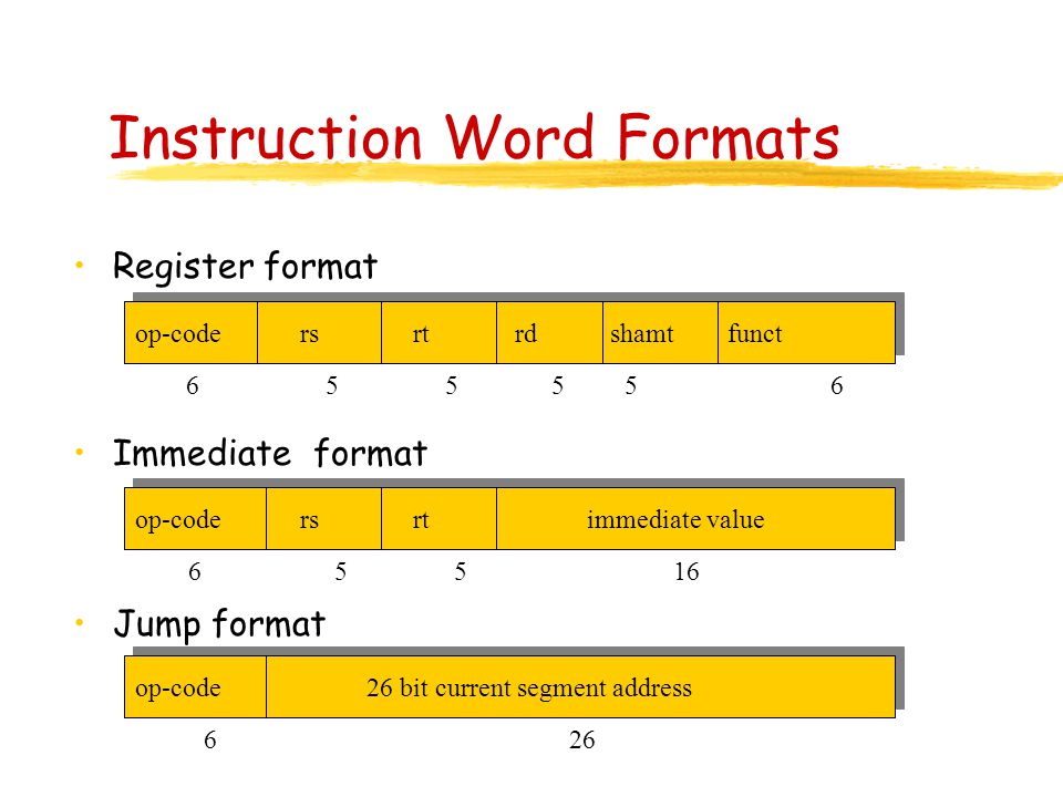 Instruction Word Formats Register format Immediate format Jump format op-code rs rt rd shamt funct op-code rs rt immediate value op-code 26 bit current segment address