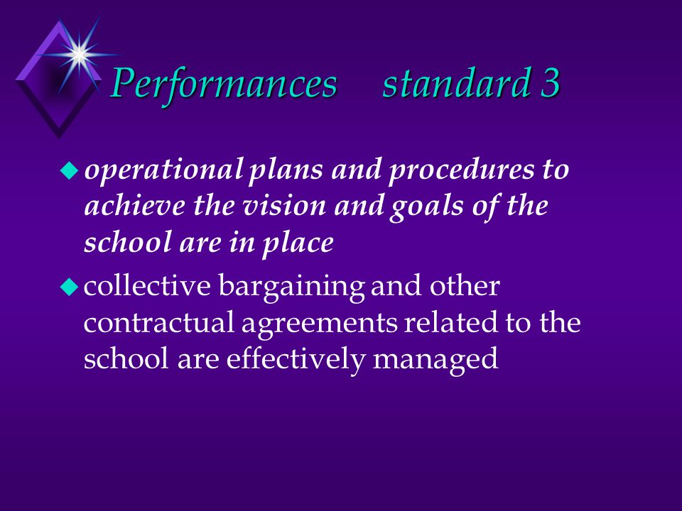 Performancesstandard 3 u operational plans and procedures to achieve the vision and goals of the school are in place u collective bargaining and other contractual agreements related to the school are effectively managed