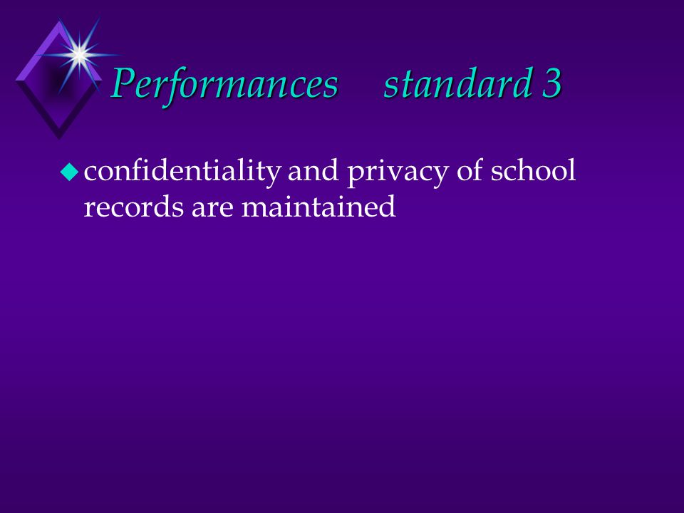 Performancesstandard 3 u confidentiality and privacy of school records are maintained