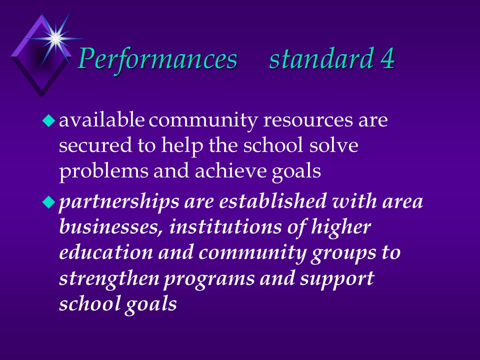 Performancesstandard 4 u available community resources are secured to help the school solve problems and achieve goals u partnerships are established with area businesses, institutions of higher education and community groups to strengthen programs and support school goals