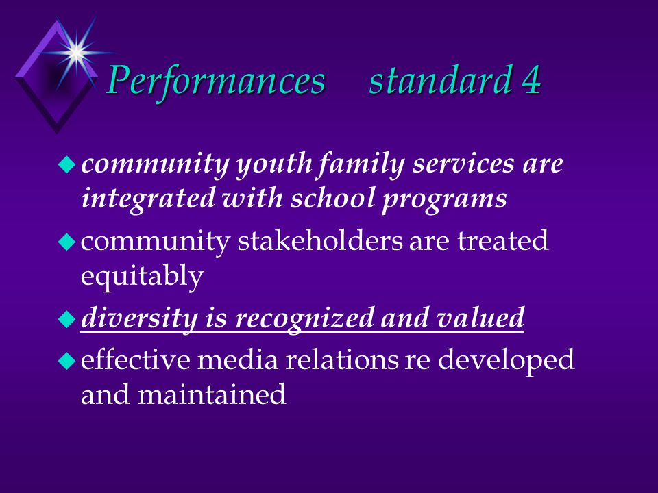 Performancesstandard 4 u community youth family services are integrated with school programs u community stakeholders are treated equitably u diversity is recognized and valued u effective media relations re developed and maintained