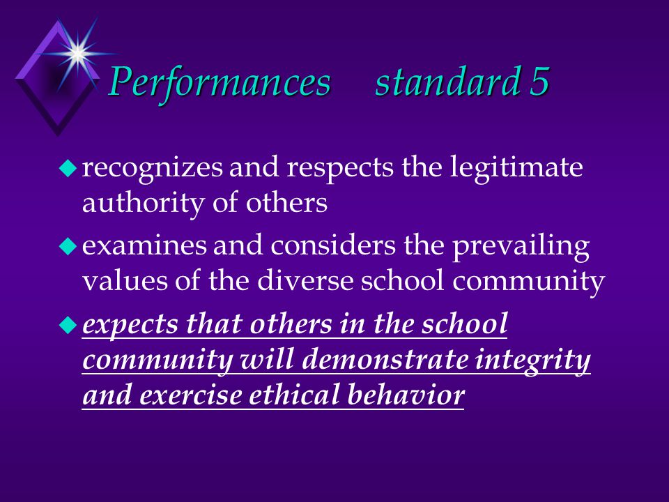 Performancesstandard 5 u recognizes and respects the legitimate authority of others u examines and considers the prevailing values of the diverse school community u expects that others in the school community will demonstrate integrity and exercise ethical behavior
