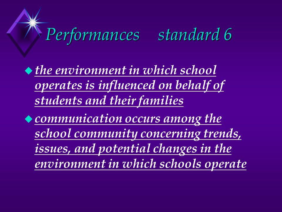 Performancesstandard 6 u the environment in which school operates is influenced on behalf of students and their families u communication occurs among the school community concerning trends, issues, and potential changes in the environment in which schools operate