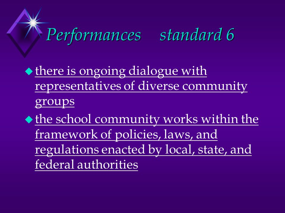 Performancesstandard 6 u there is ongoing dialogue with representatives of diverse community groups u the school community works within the framework of policies, laws, and regulations enacted by local, state, and federal authorities