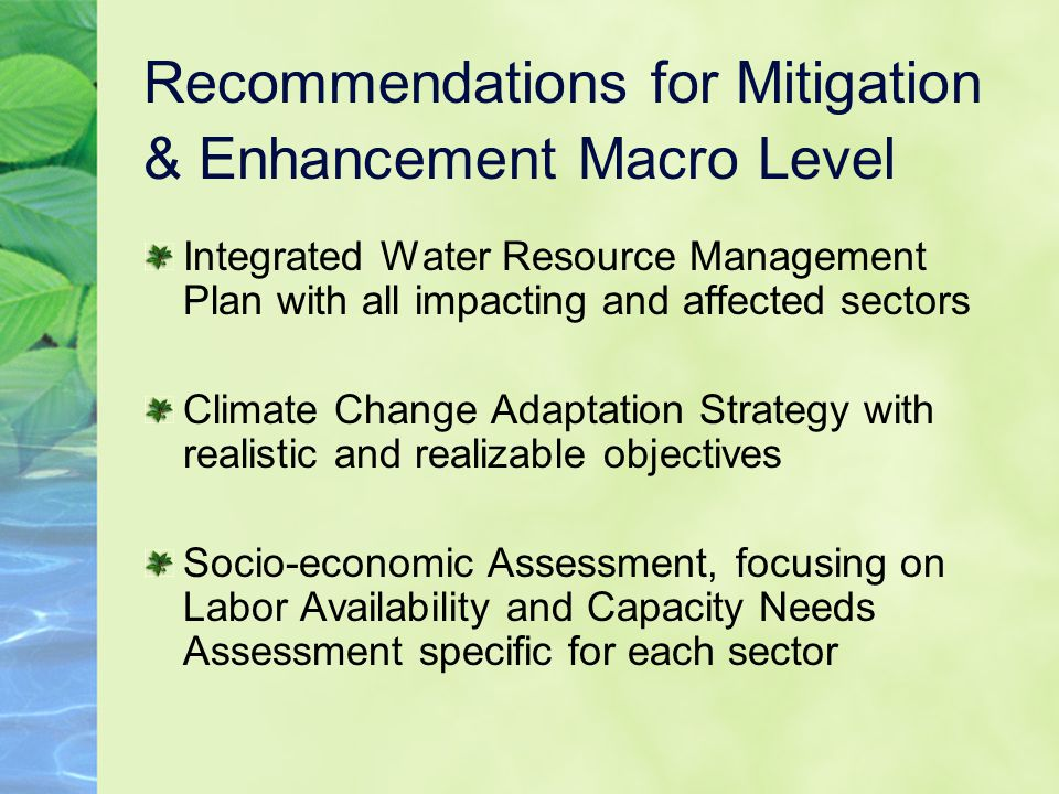 Recommendations for Mitigation & Enhancement Macro Level Integrated Water Resource Management Plan with all impacting and affected sectors Climate Change Adaptation Strategy with realistic and realizable objectives Socio-economic Assessment, focusing on Labor Availability and Capacity Needs Assessment specific for each sector