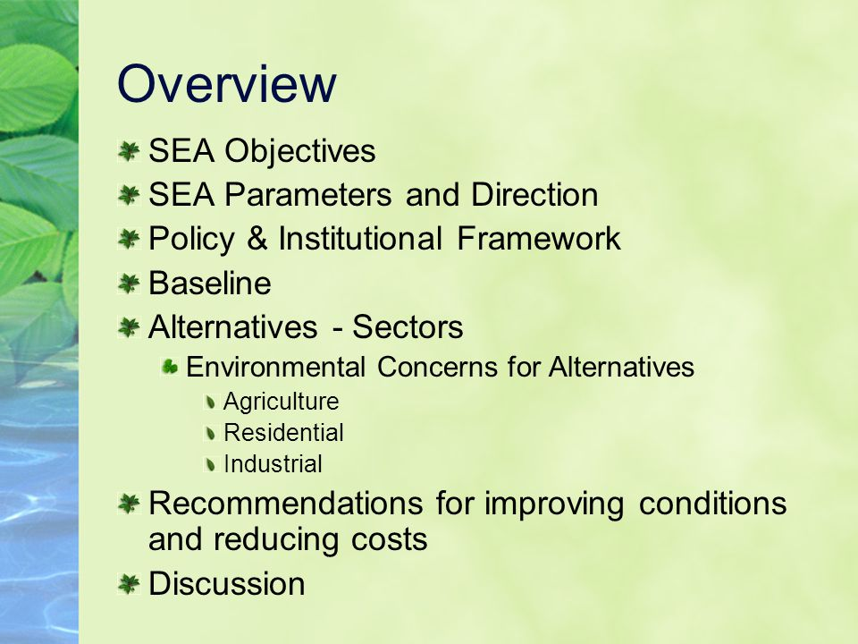 Overview SEA Objectives SEA Parameters and Direction Policy & Institutional Framework Baseline Alternatives - Sectors Environmental Concerns for Alternatives Agriculture Residential Industrial Recommendations for improving conditions and reducing costs Discussion