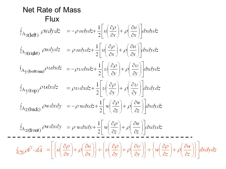 Net Rate of Mass Flux