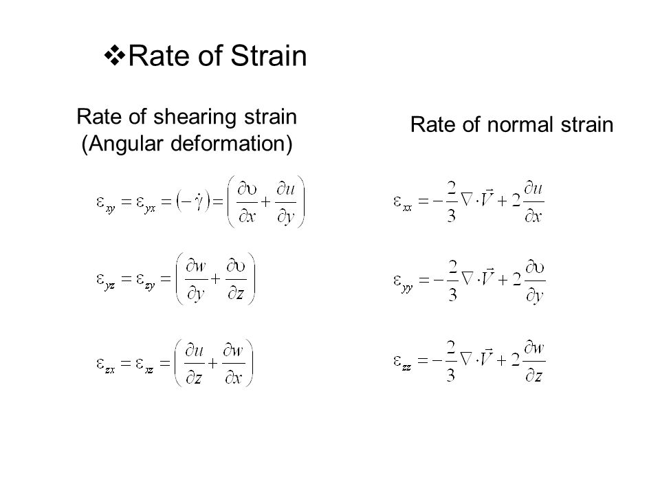 Rate of shearing strain (Angular deformation)  Rate of Strain Rate of normal strain