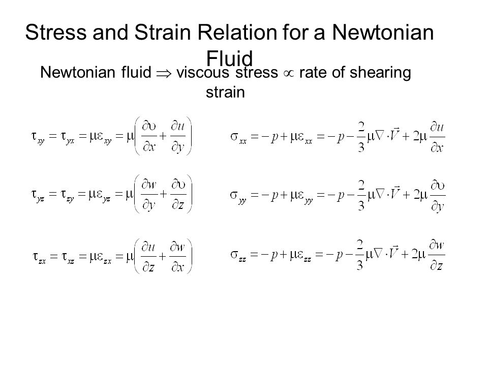 Stress and Strain Relation for a Newtonian Fluid Newtonian fluid  viscous stress  rate of shearing strain