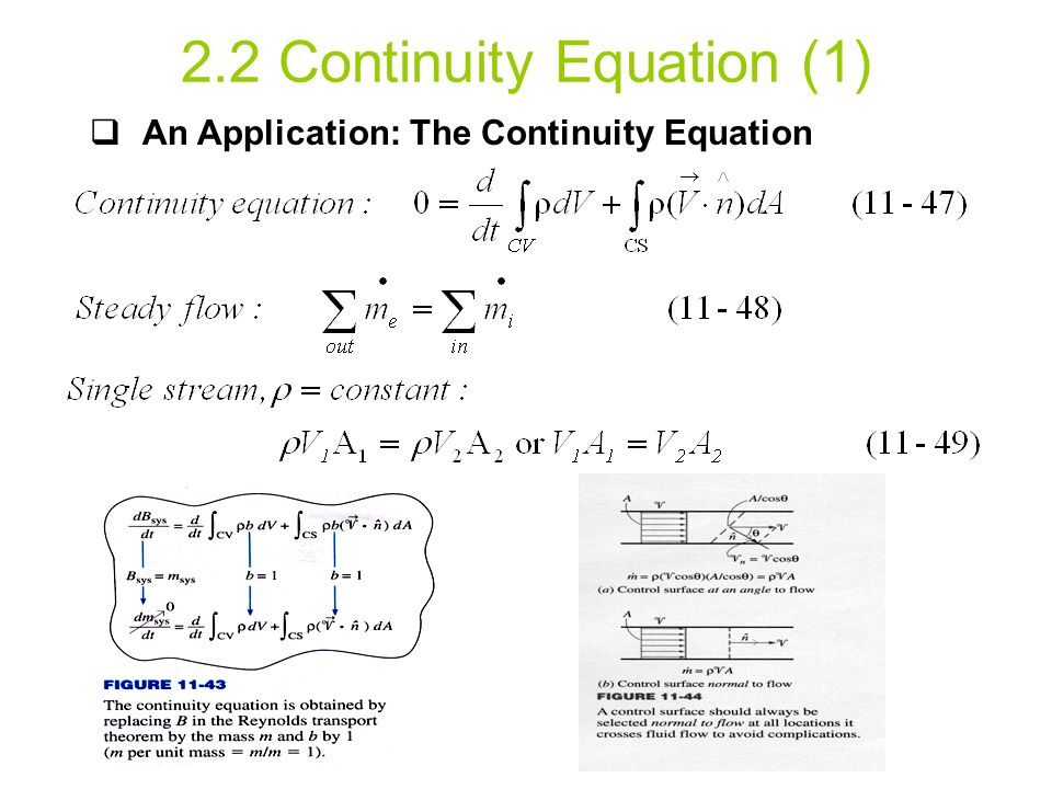 2.2 Continuity Equation (1)  An Application: The Continuity Equation