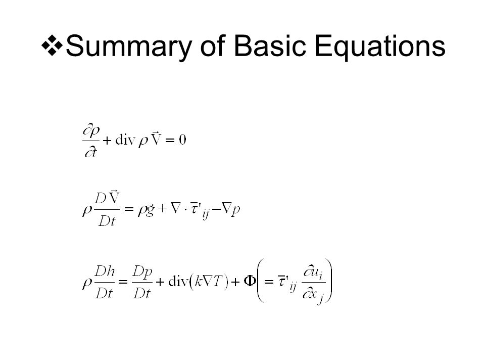  Summary of Basic Equations