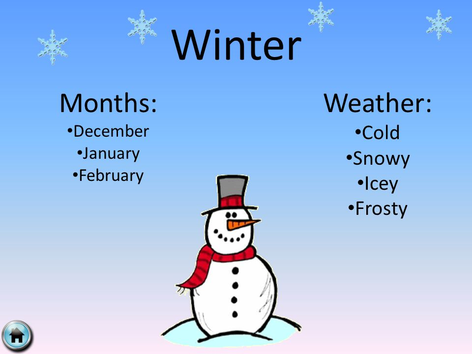 Winter Months: December January February Weather: Cold Snowy Icey Frosty